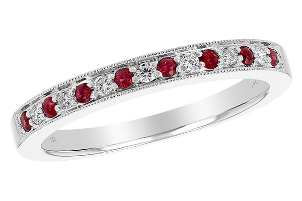 B238-60838: LDS RUBY/DIA WED RG .12 RUBY .21 TGW